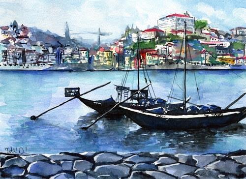 Porto Rabelo Boats watercolour painting by Dora Hathazi Mendes